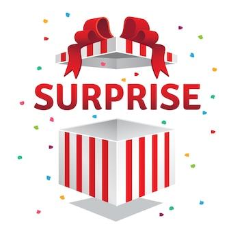 Scatola regalo di sorpresa aperta