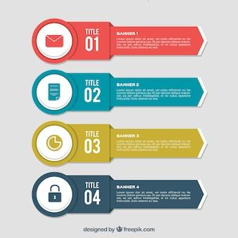 Scelta di quattro striscioni infographic utili