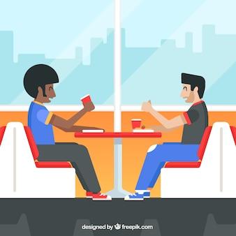 Scena di amici che mangiano in un ristorante in design piatto