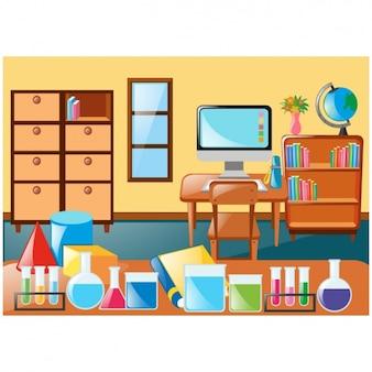 Scena di classe con mobili e accessori