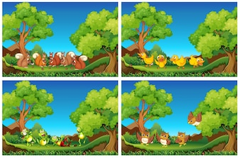 Scene con animali nel giardino illustrazione