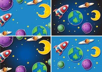 Scene con razzo e pianeti