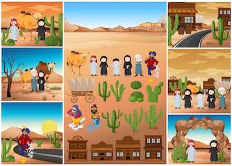 Scene del deserto con persone e costruzioni