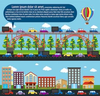 Scene di città con le automobili sulla strada