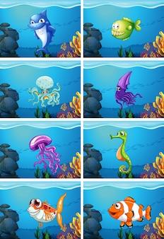 Scene subacquee con illustrazione di animali di mare