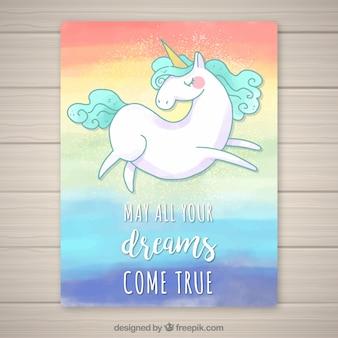 Scheda acquerello di compleanno con unicorno disegnato a mano