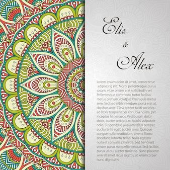 Scheda d'invito con ornamento di pizzo Sfondo disegnare a mano