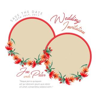 Scheda d'invito floreale di nozze ad acquerello