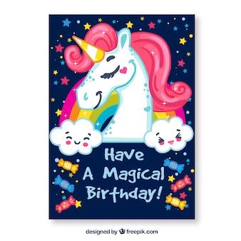 Scheda di compleanno con unicorno e messaggio