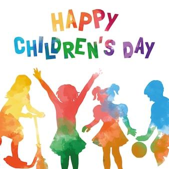 Scheda di giorno acquerello dei bambini