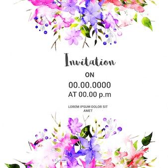 Scheda di invito artistico con fiori di acquerello.