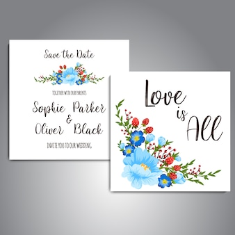 Scheda di nozze con fiori blu