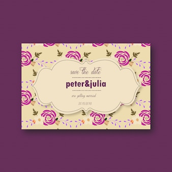 Scheda di nozze con fiori viola