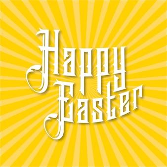 Scheda felice lettering Pasqua moderna calligrafia Buona Pasqua linee gialle e sfondo bianco