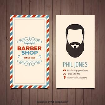 Scheda negozio di barbiere in stile vintage