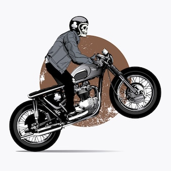 Scheletro rigind una moto