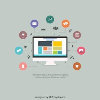 Schermo con un sito web e le icone