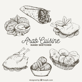 Schizzi gustosi piatti della cucina araba
