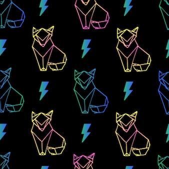 Seamless carta volpe origami e bulloni con sfondo di neon sfondo di stile di colore di illuminazione