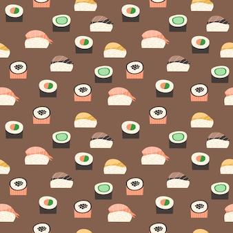 Seamless pattern con diversi tipi di sushi.