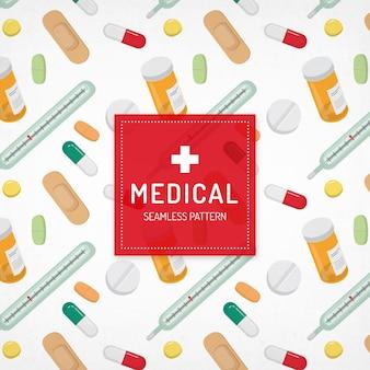 Seamless pattern con elementi medici