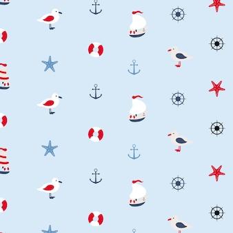 Seamless pattern nello stile marino