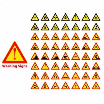 Segnale di avvertimento simbolo Set elemento di design