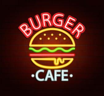 Segno al neon del caffè hamburger.