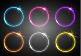 Sei anelli di diverse luci di colore