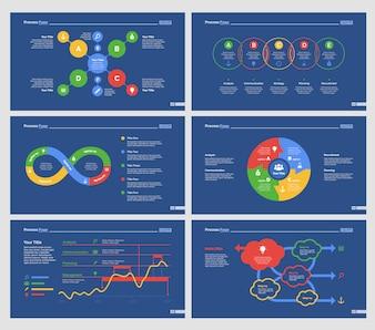 Sei diagrammi di economia Set di modelli di diapositive