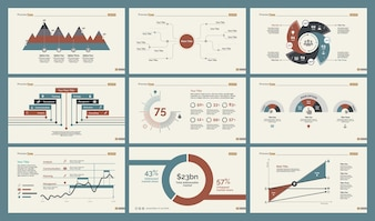 Sei diagrammi di produzione Set di modelli di diapositive