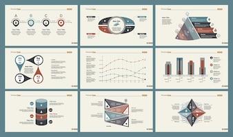 Sei grafici di contabilità impostano i modelli di diapositive