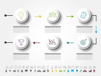 Sei passi di successo, layout Timeline Infographics con icone impostate, in versione in bianco e nero e colorato.