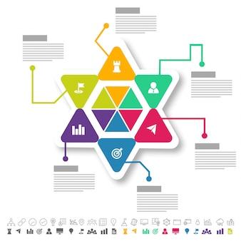 Sei passi, il layout di Timeline Infographics con le icone impostate, in versione in bianco e nero e colorato.