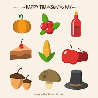 Selezione degli elementi del Ringraziamento piatti