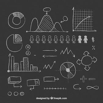 Selezione degli utili elementi infographic disegnati a mano