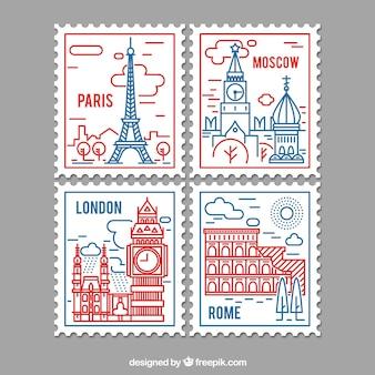 Selezione di francobolli di città in stile lineare