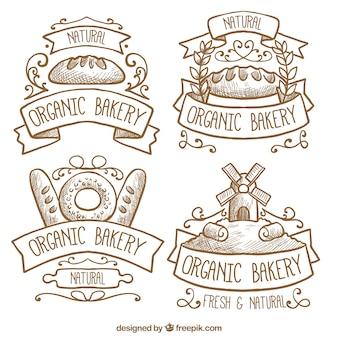 Selezione di quattro etichette da forno biologico
