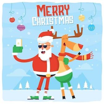 Selfie di Natale con Babbo Natale e cervi