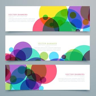Serie di striscioni con cerchi colorati astratti