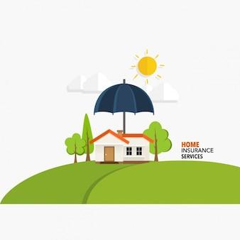 Servizi assicurativi sfondo a casa