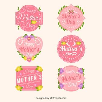 Set carino di badge floreali per la festa della mamma