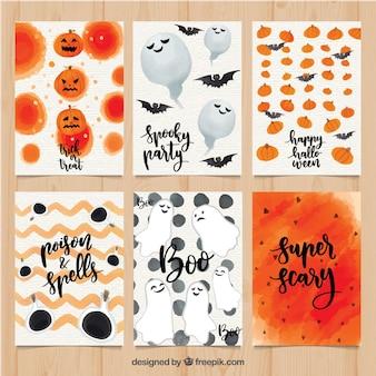 Set colorato di carte halloween acquerello