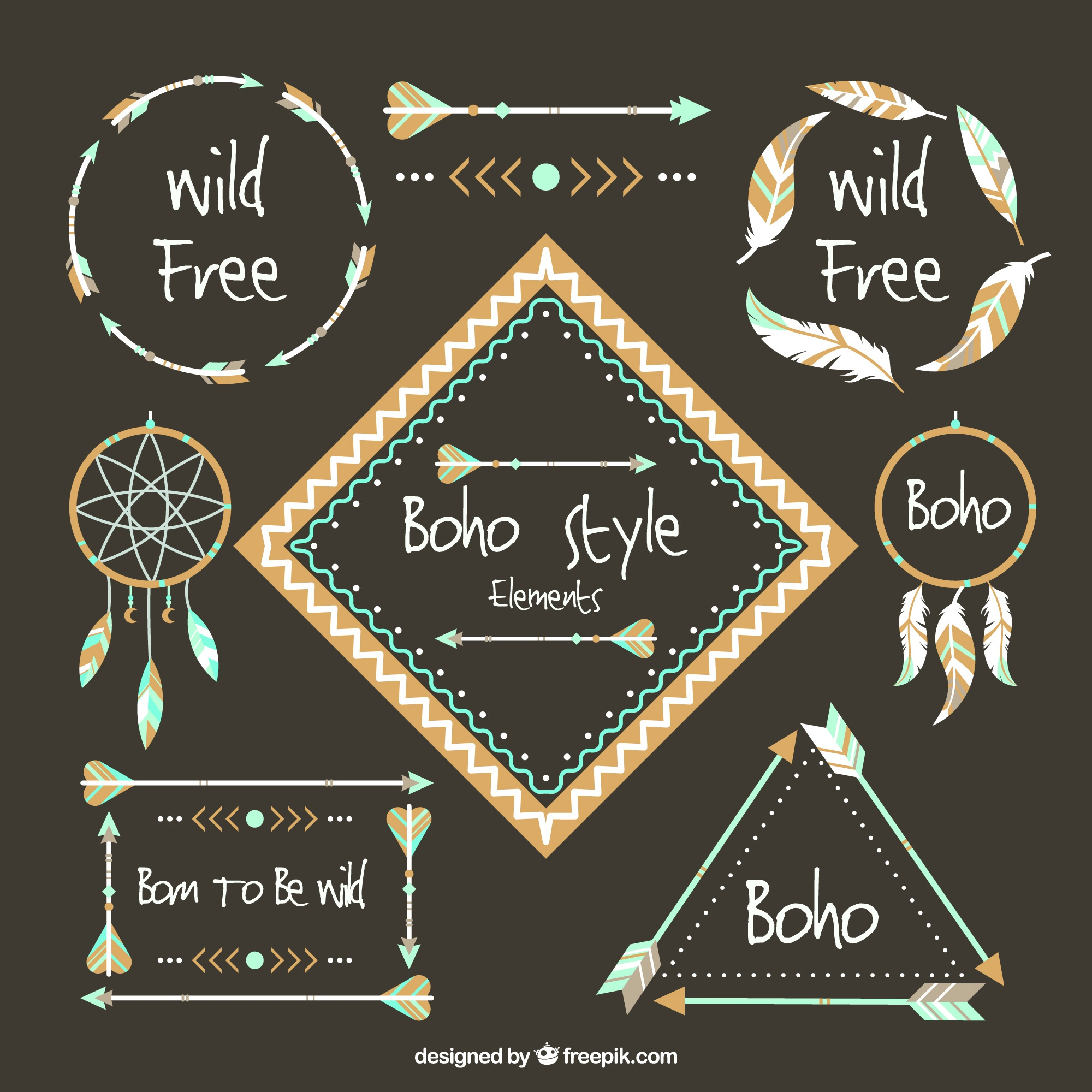 Set con elementi decorativi in ​​stile boho