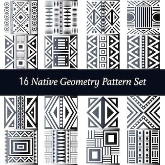Set di 16 motivi naturali di geometria