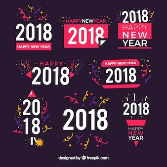Set di 2018 adesivi per il nuovo anno