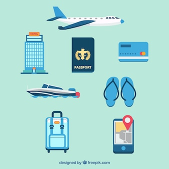 Set di aerei con passaporto e altri elementi di viaggio