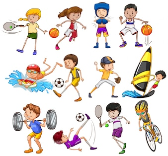 Set di bambini che giocano diversi tipi di sport