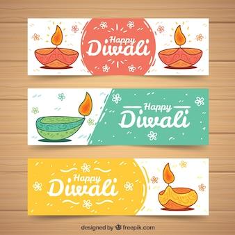 Set di banner con disegni di diwali