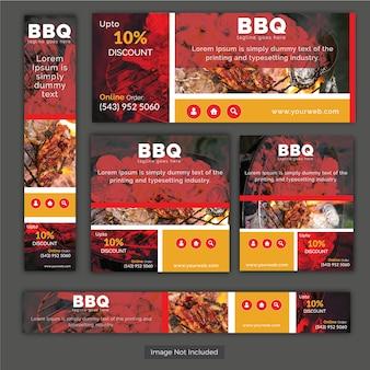 Set di banner di cibo BBQ impostato per il business del ristorante